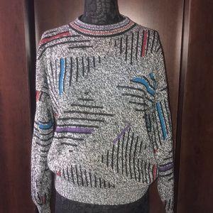 VTG Oversized Retro Abstract Sweater Sz M